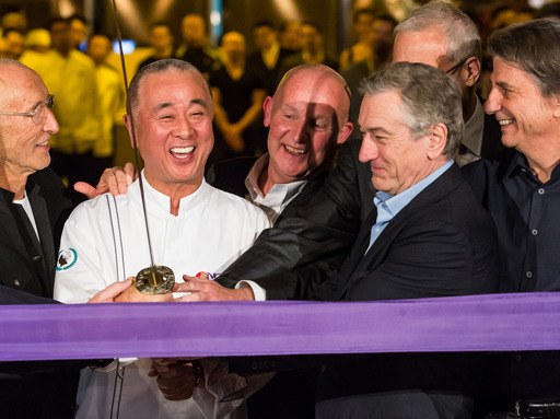 Meir Teper, Chef Nobu, Trevor Horwell, Gary Selesner, Robert DeNiro and David Rockwell mark the official opening of the world's first Nobu Hotel Restaurant and Lounge Caesars Palace Las Vegas.