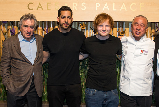 Nobu Hospitality partner Robert De Niro, illusionist David Blaine, singer Ed Sheeran and chef Nobu Matsuhisa pose at the Grand Opening party for the Nobu Hotel Restaurant and Lounge Caesars Palace.
