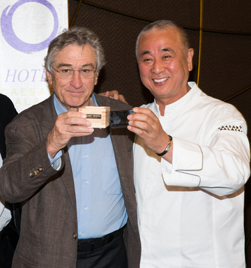 Nobu Hospitality Partners Robert De Niro and Chef Nobu Matsuhisa toast at the Sake Ceremony celebrating the Grand Opening of the Nobu Hotel Restaurant and Lounge Caesars Palace. Photo by Erik Kabik