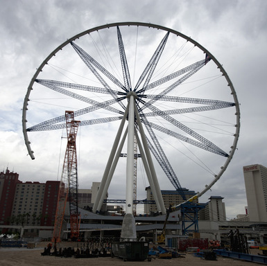 When completed, the High Roller observation wheel will reach 550 feet offering unparralled views of the Las Vegas Strip. (Photo credit: Denise Truscello)