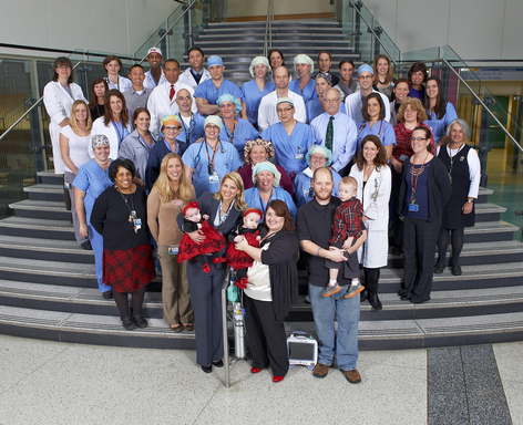 Members of the large multidisciplinary Children's Hospital of Philadelphia team that has cared for the Tucker twins.