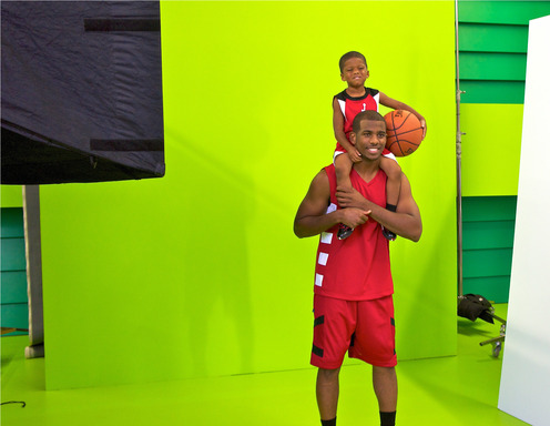 Basketball star Chris Paul on set with his son at the Avon #Untouchable fragrance ad shoot.