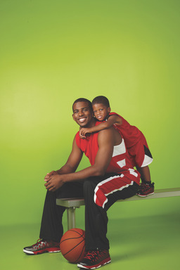 Behind the Scenes with basketball Star Chris Paul and his son at the Avon #Untouchable fragrance ad shoot.