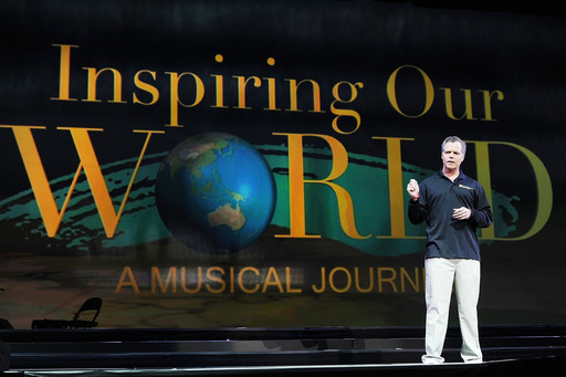 MGM Resorts' Chairman and CEO Jim Murren speaking before thousands of employees during Inspiring Our World.