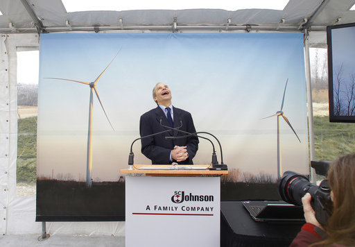 Fisk Johnson, Chairman and CEO of SC Johnson speaks passionately about the company's commitment to renewable energy use as he powers up two new wind turbines at Waxdale, SC Johnson's largest manufacturing facility.