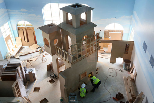 Construction workers move quickly on the Castle Play Area inside the nation's first LEGOLAND® Hotel opening ahead of schedule on April 5, 2013.