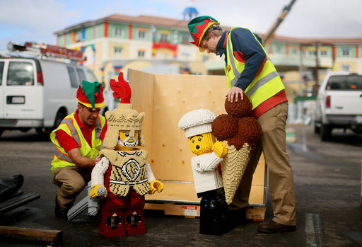 LEGOLAND® California Resort's Master Model Builders prepare a LEGO knight and chef for installation into the nation's first LEGOLAND Hotel opening ahead of schedule on April 5, 2013.