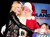 Actress Elizabeth Banks helped Santa light the world's largest LEGO® Christmas tree at LEGOLAND® California Resort in Carlsbad, California.