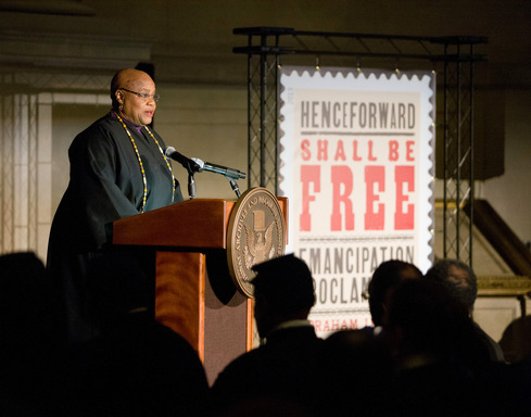 Musician, Song Talker and Scholar, Dr. Bernice Johnson Reagon delivers a dramatic reading of the Emancipation Proclamation at The National Archives in Washington, D.C.
