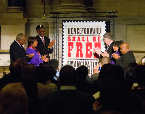 Emancipation Proclamation Stamp dedication at The National Archives by (left to right) Danny Davis, Eddie Bernice Johnson, Ronald Stroman, David Ferriero, A'Leila Bundles, Dr. Bernice Johnson Reagon.