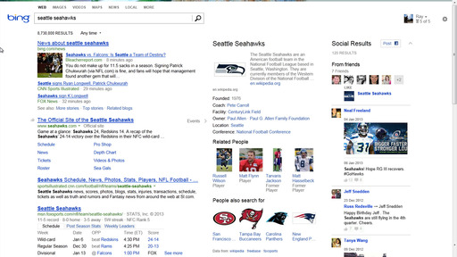 Sports search with sidebar