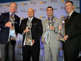 Last year's Liberty Mutual Coach of the Year winners Willie Fritz, Sam Houston State; Peter Rossomando, New Haven and Glenn Caruso, Univ. of St. Thomas, stand with program spokesperson Archie Manning