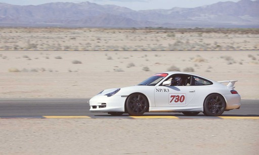 World-class champion driver Kelly Collins track testing the unparalleled performance characteristics of Carbon Revolution's ''one-piece'' carbon fiber CR-9 wheel at Chuckwalla Raceway.