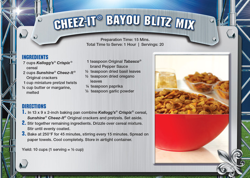 In a nod to this year's host city, the Tomlinsons tapped into the Cajun spirit of New Orleans to create a Bayou Blitz Mix featuring Cheez-It crackers.