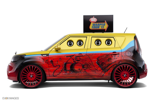 Inspired by the colors of the Van's Warped Tour, this Kia Soul is ready to hit the road on a musical journey.