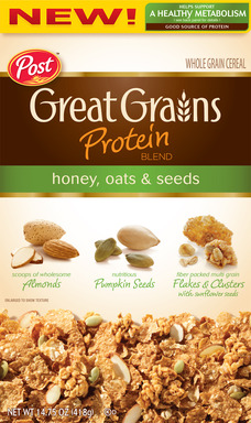 New Post Great Grains Protein Blend Honey, Oats & Seeds helps support a healthy metabolism and is a good source of protein.