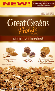 New Post Great Grains Protein Blend Cinnamon Hazelnut cereal helps support a healthy metabolism and is a good source of protein.