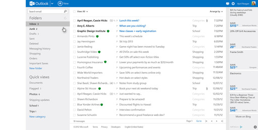 Outlook.com: Clean and Modern Design