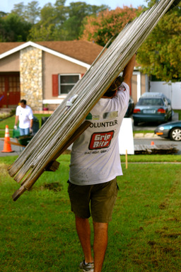 Grip-Rite and Rebuilding Together replaced the fence destroyed by hurricanes Frances and Charley.