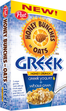 New Post Honey Bunches of Oats Greek Honey Crunch cereal