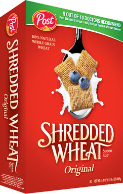 Nine out of 10 physicians recommend Post Shredded Wheat for maintaining a healthy heart and reducing the risk of heart disease
