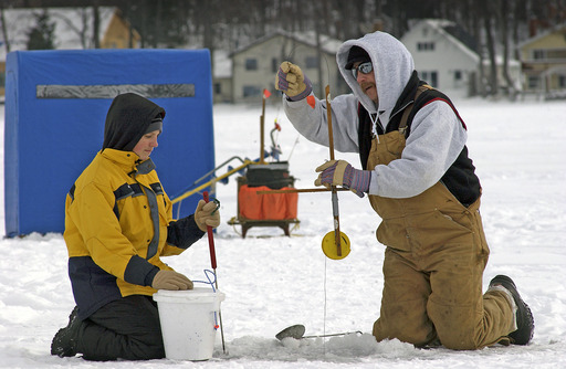 No boat. No problem. Unlike other types of fishing, ice fishing is done without the use of a boat. Photo courtesy of Michigan Department of Natural Resources