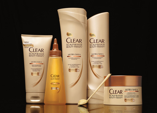 CLEAR SCALP & HAIR BEAUTY THERAPY™ Ultra Shea shampoo, conditioner, oil, balm and treatment mask.