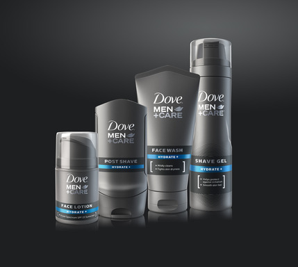 The NEW DOVE® MEN+CARE® Face Range includes products across four grooming categories: cleansing, shave, post-shave and face care.
