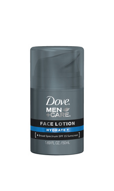 NEW DOVE® MEN+CARE® Face Lotion provides fast absorbing moisturization for all day hydration. Available in Hydrate+ (with SPF 15), Sensitive+, and Revitalize+