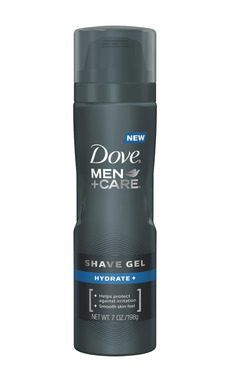 NEW DOVE®MEN+CARE® Shave Gel helps protect from irritation and offers a smooth skin feel. Available in Hydrate+ and  Sensitive+
