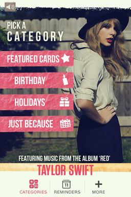 Download the Taylor Swift Mobile Greeting Card app by American Greetings for free. Find the app in the Apple App Store or Google Play
