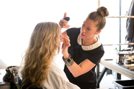 Behind the scenes with mark. Celebrity Makeup Artist and Brand Expert Fiona Stiles at a mark. Magalog shoot.