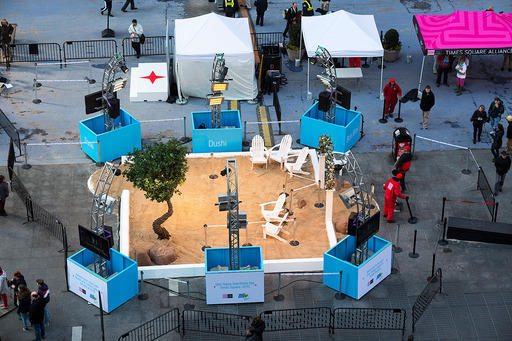Aruba's One happy island was re-created in Times Square for Valentine's Day. Photo Credit: Stephen Freeman 2013