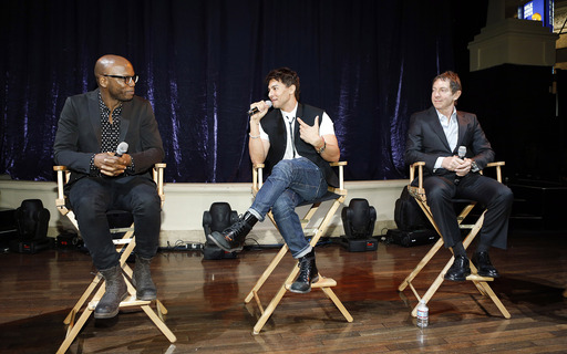 Welby Altidor, Director of Creation, Jamie King, writer/director of Michael Jackson ONE, and John Branca, Co-Executor of The Estate of Michael Jackson discuss the show at Mandalay Bay. PHOTO CREDIT: Isaac Brekken/Getty Images