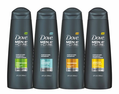 NEW DOVE® MEN+CARE™ Hair Care includes a range of fortifying shampoos to meet men's specific needs.