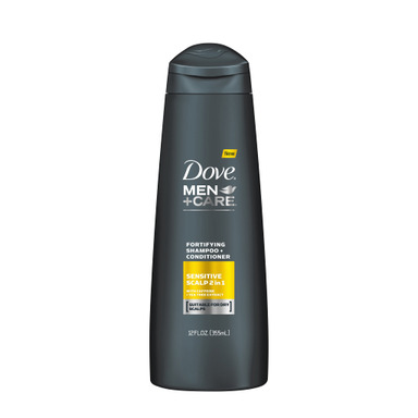 NEW DOVE® MEN+CARE™ Sensitive Scalp Fortifying 2-in-1gently cleanses the scalp while conditioning the hair.