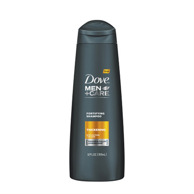 NEW DOVE® MEN+CARE™ Thickening Fortifying Shampoo is formulated with caffeine and calcium to make men's hair look and feel thick.