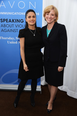 Avon CEO Sheri McCoy and Avon Foundation Ambassador Salma Hayek Pinault at the 2nd Avon Communications Awards: Speaking Out Against Violence Against Women at the United Nations in New York City.