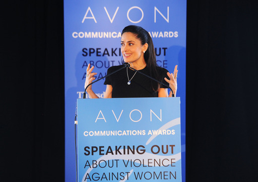 Avon Foundation Ambassador Salma Hayek Pinault at the United Nations where she presented the 2nd Avon Communications Awards honoring global leaders working to end violence against women.