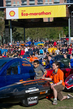More than 1,000 students gathered at the opening ceremony of Shell Eco-marathon Americas 2013 in Houston, Texas