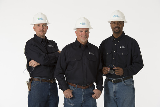 Duke Energy line technicians (l-r) Blake Sehen, George Flowe and Terry Weathers.
