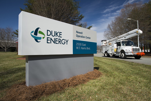 The new logo identifies Duke Energy's Newell Operation Center in Charlotte, N.C.