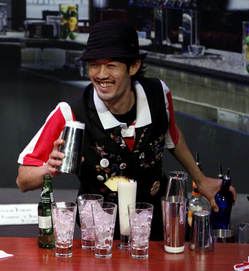 "The world's best bartender, Hiroyuki ""Mark"" Yamada,engages the judges with his energy behind the bar."