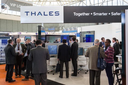 Visitors gather at Thales stand
