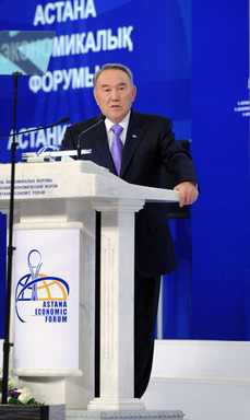 The President of the Republic of Kazakhstan Nursultan Nazarbayev at the Fifth Astana Economic Forum