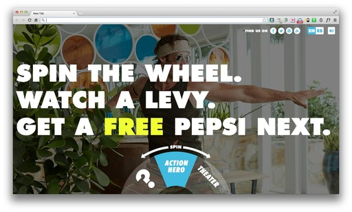 "Go to WheelofLevy.com to spin the ""Wheel of Levy"" for the chance to win a free Pepsi NEXT"