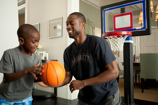 "Dwayne Wade shows fans how he cares for what matters by playing 'dad defense' off the court during his Dove® Men+Care™ ""Real Moments"" campaign shoot, launching just in time for March Madness."