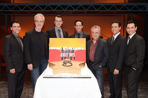 Frankie Valli & Bob Gaudio celebrate show's Fifth Anniversary with Jersey Boys cast on stage at Paris Las Vegas  © Denise Truscello