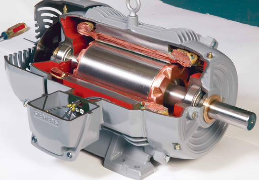 The cross section of a copper rotor motor