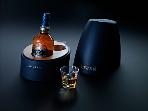 Chivas 18 by Pininfarina Level 2 features a solid wood inlay with two exclusively designed glasses to echo Pininfarina's ''The Drop'' design.